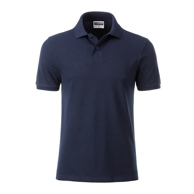 Navy - Front - James and Nicholson Mens Basic Polo
