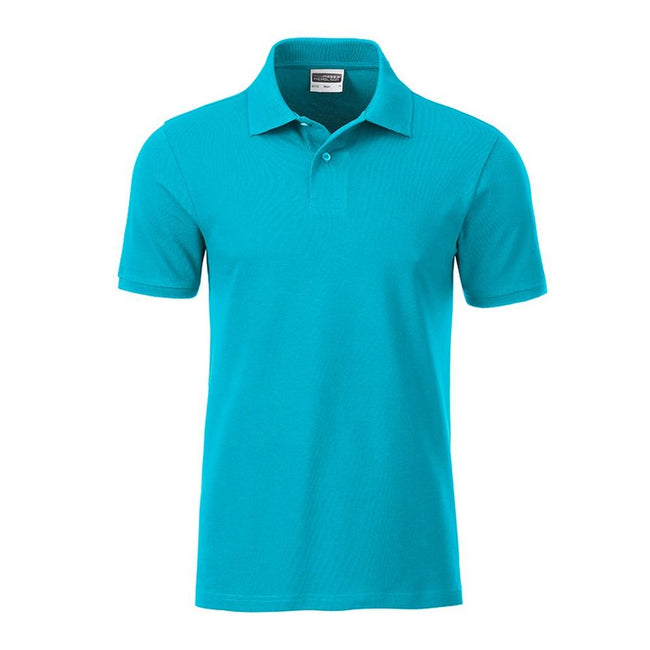 Turquoise - Front - James and Nicholson Mens Basic Polo