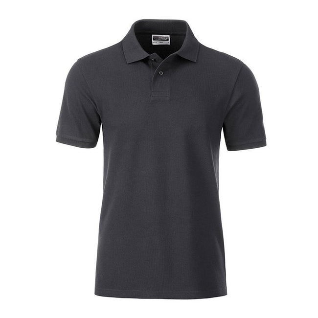 Graphite Grey - Front - James and Nicholson Mens Basic Polo