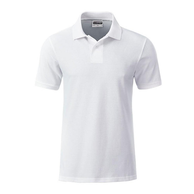 White - Front - James and Nicholson Mens Basic Polo