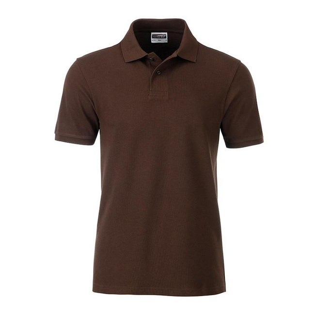 Brown - Front - James and Nicholson Mens Basic Polo