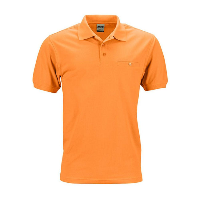 Orange - Front - James and Nicholson Mens Workwear Polo Pocket Shirt