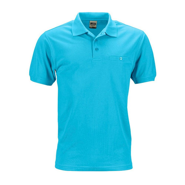 Turquoise - Front - James and Nicholson Mens Workwear Polo Pocket Shirt