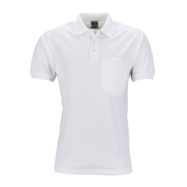 White - Front - James and Nicholson Mens Workwear Polo Pocket Shirt
