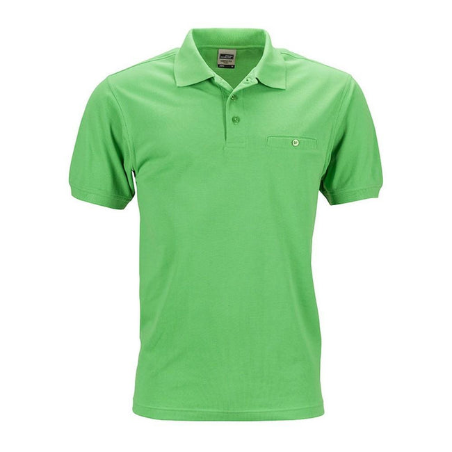 Lime Green - Front - James and Nicholson Mens Workwear Polo Pocket Shirt