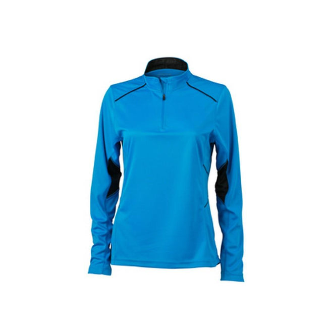 Atlantic Blue-Black - Front - James and Nicholson Womens-Ladies Long Sleeve Running Shirt