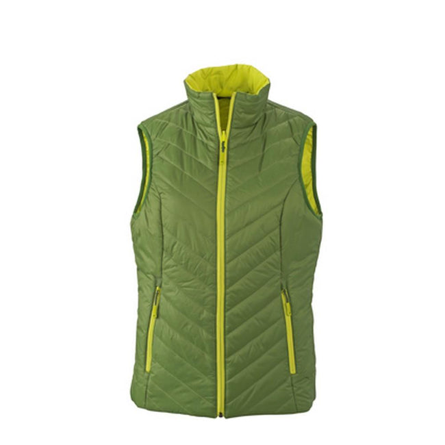 Jungle Green-Acid Yellow - Front - James and Nicholson Womens-Ladies Light Weight Vest