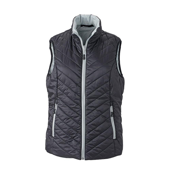 Black-Silver - Front - James and Nicholson Womens-Ladies Light Weight Vest