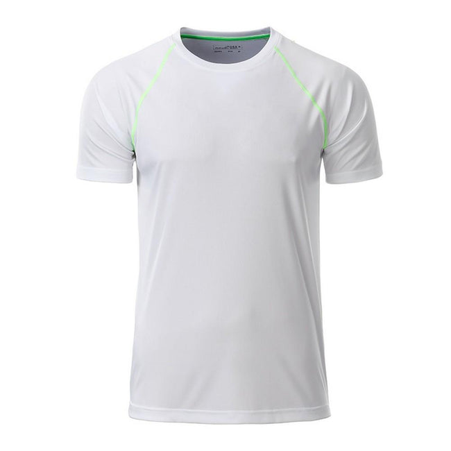 White-Bright Green - Front - James and Nicholson Mens Sports T-Shirt
