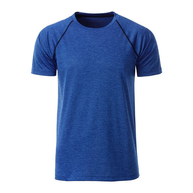 Blue Melange-Navy - Front - James and Nicholson Mens Sports T-Shirt