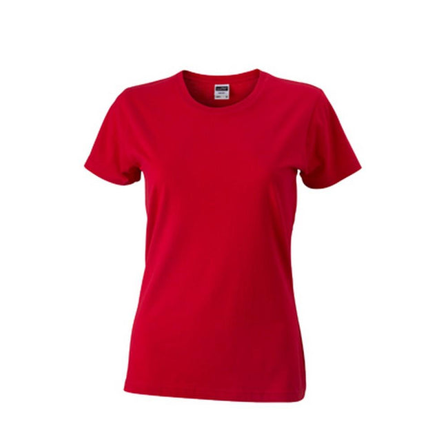 Red - Front - James and Nicholson Womens-Ladies Slim Fit-T