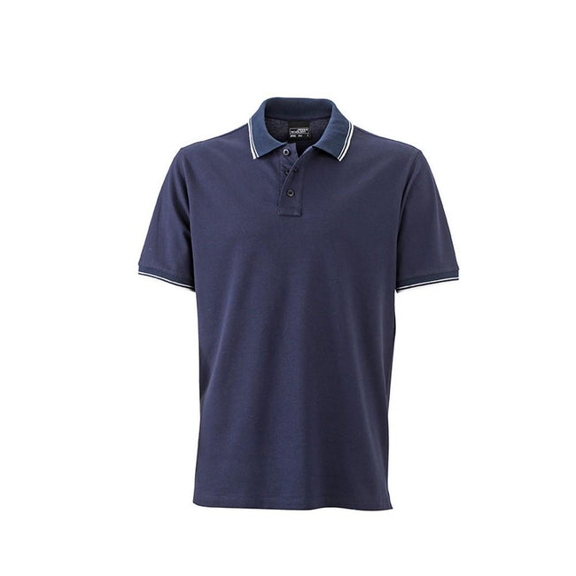 Navy-White - Front - James and Nicholson Mens Polo