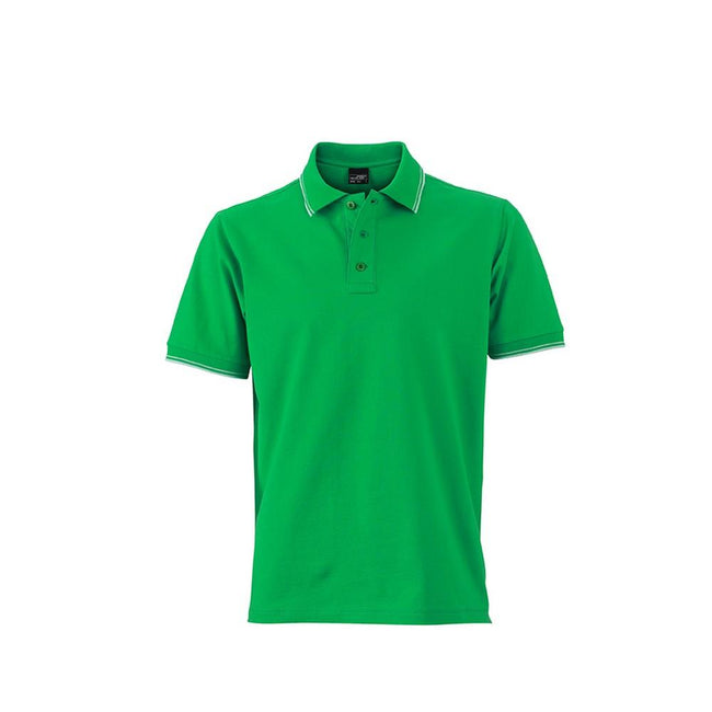 Fern Green-White - Front - James and Nicholson Mens Polo