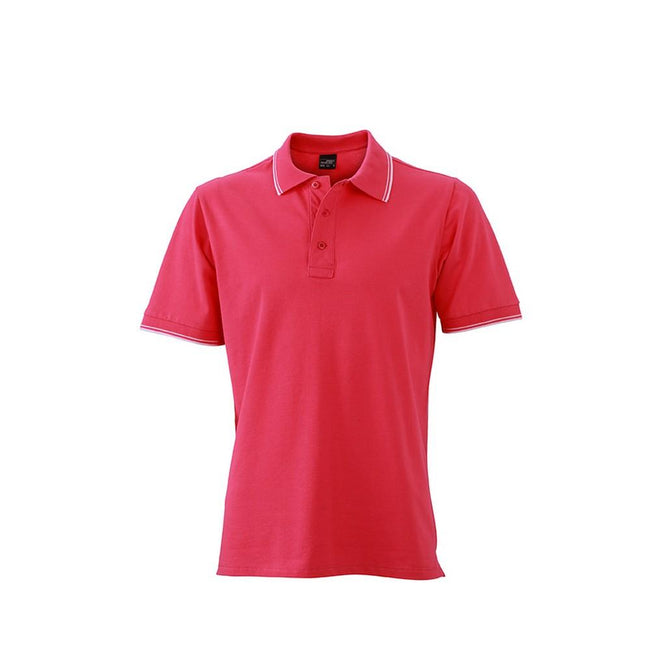 Pink-White - Front - James and Nicholson Mens Polo
