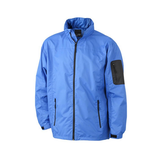 Royal Blue-Black - Front - James and Nicholson Mens Windbreaker