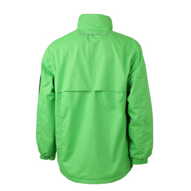 Lime Green-Carbon Grey - Back - James and Nicholson Mens Windbreaker