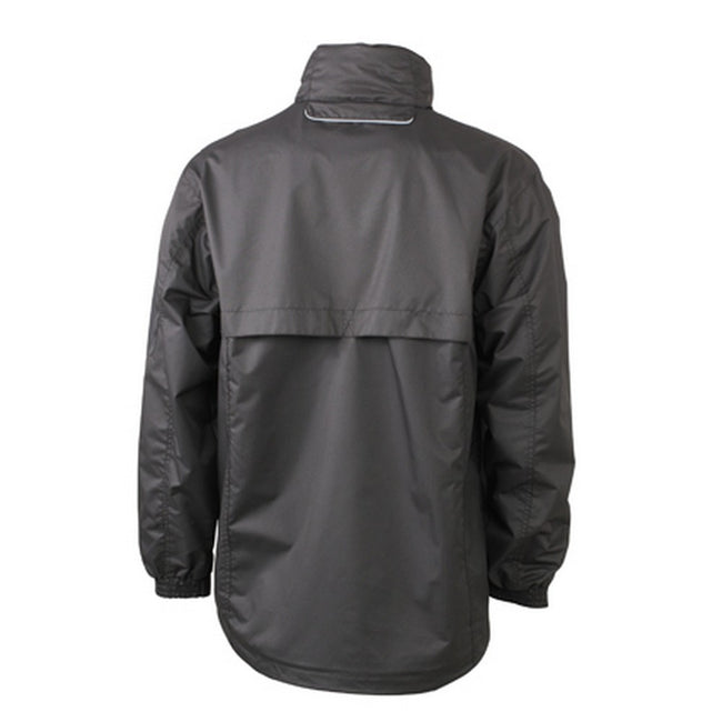 Black-Silver - Back - James and Nicholson Mens Windbreaker