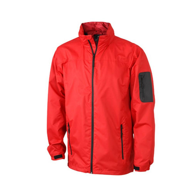 Red-Black - Front - James and Nicholson Mens Windbreaker