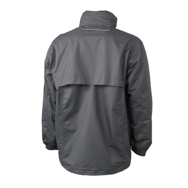 Carbon Grey-Aqua Blue - Back - James and Nicholson Mens Windbreaker