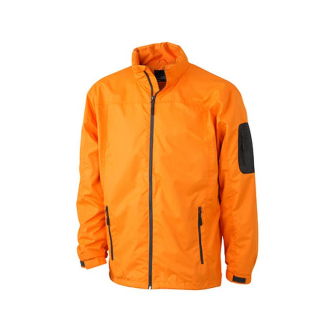 Orange-Carbon Grey - Front - James and Nicholson Mens Windbreaker