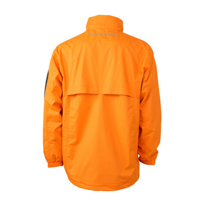 Orange-Carbon Grey - Back - James and Nicholson Mens Windbreaker