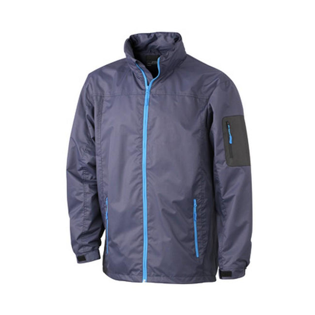 Navy-Aqua Blue - Front - James and Nicholson Mens Windbreaker