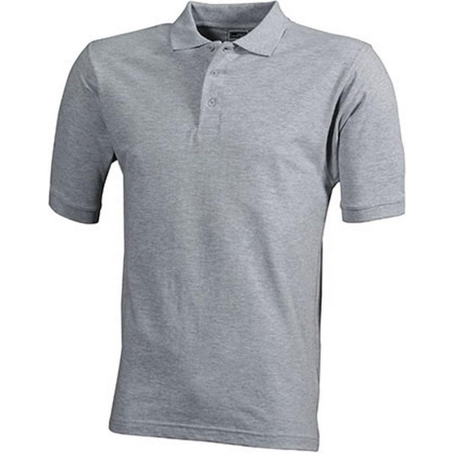 Heather Grey - Front - James and Nicholson Mens Workwear Mens Polo