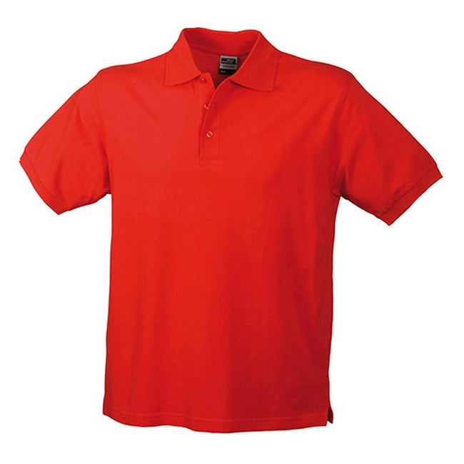Red - Front - James and Nicholson Mens Workwear Mens Polo