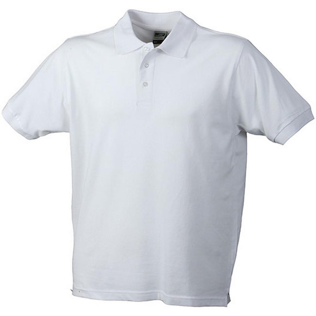 White - Front - James and Nicholson Mens Workwear Mens Polo