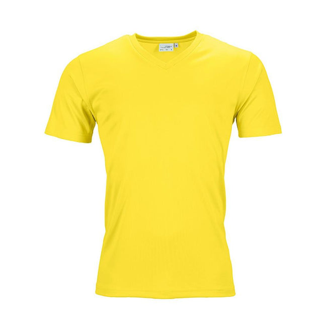 Yellow - Front - James and Nicholson Mens Active V Neck T-Shirt