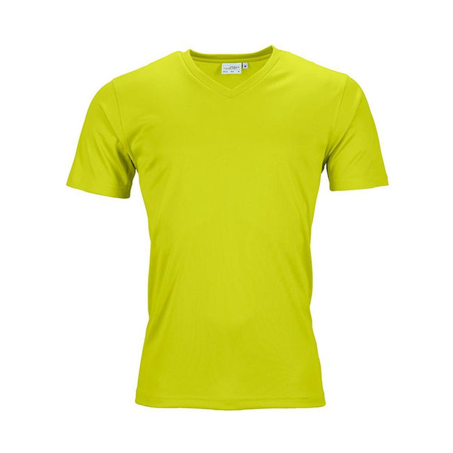 Acid Yellow - Front - James and Nicholson Mens Active V Neck T-Shirt