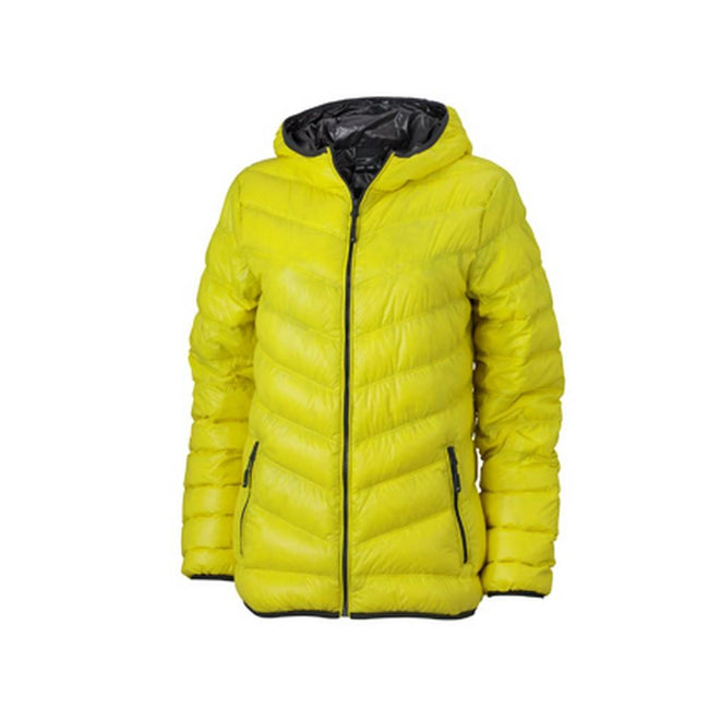 Yellow-Carbon Grey - Front - James and Nicholson Womens-Ladies Down Jacket