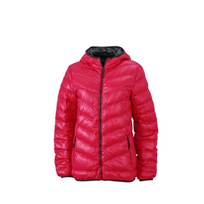 Magenta-Graphite - Front - James and Nicholson Womens-Ladies Down Jacket