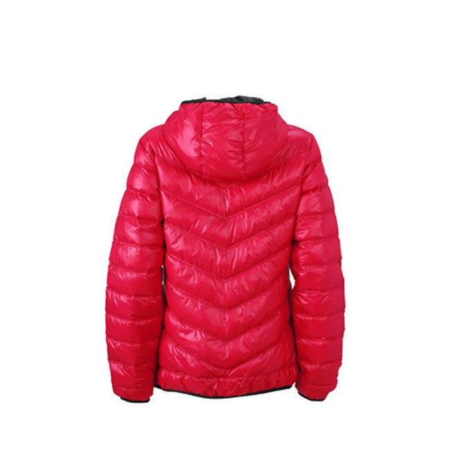 Magenta-Graphite - Back - James and Nicholson Womens-Ladies Down Jacket