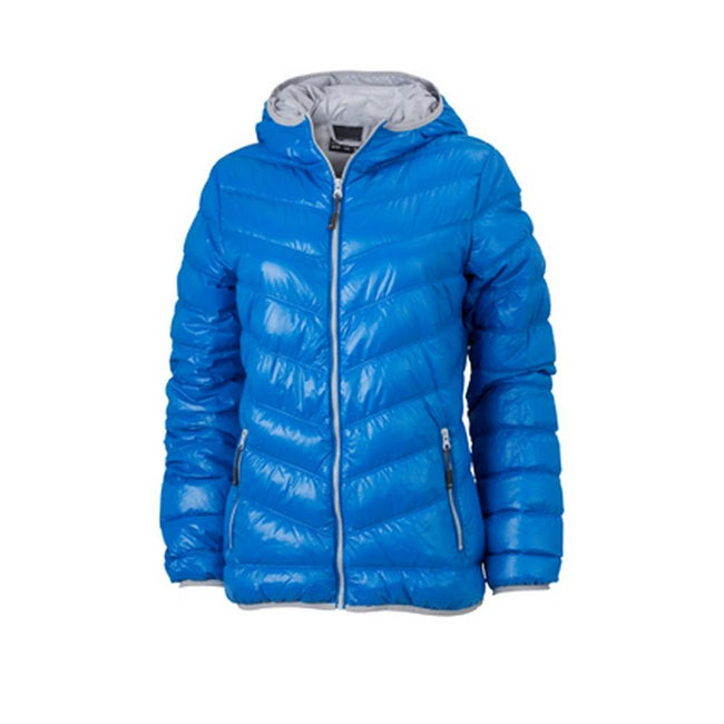 Blue-Silver - Front - James and Nicholson Womens-Ladies Down Jacket