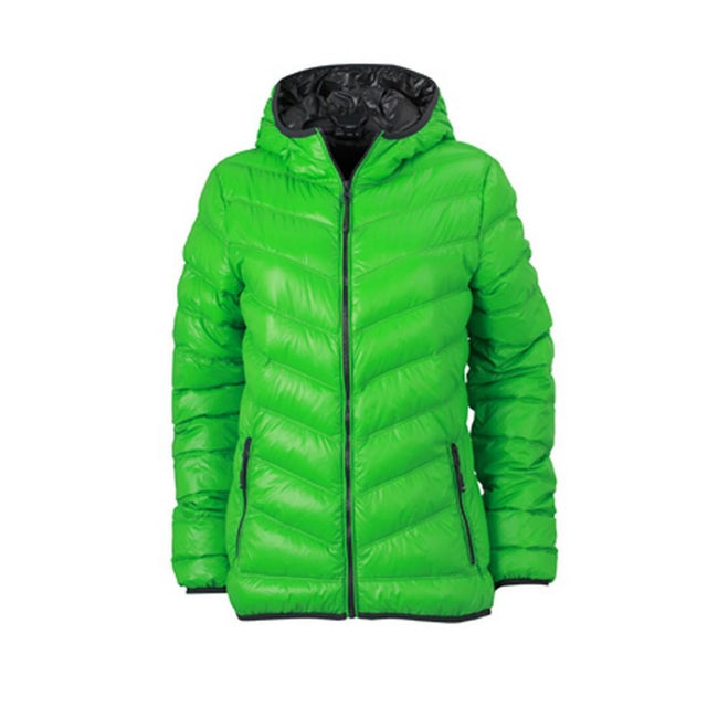 Green-Carbon Grey - Front - James and Nicholson Womens-Ladies Down Jacket
