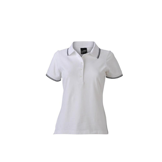 White-Navy - Front - James and Nicholson Womens-Ladies Polo