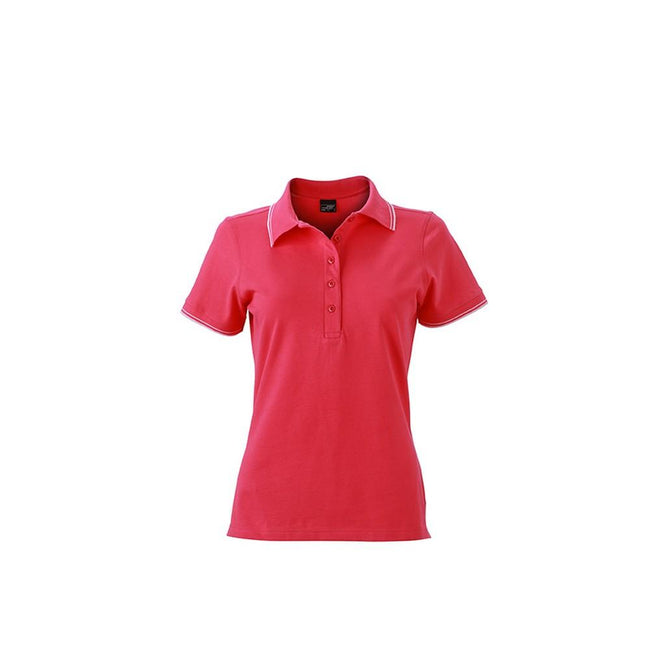 Pink-White - Front - James and Nicholson Womens-Ladies Polo