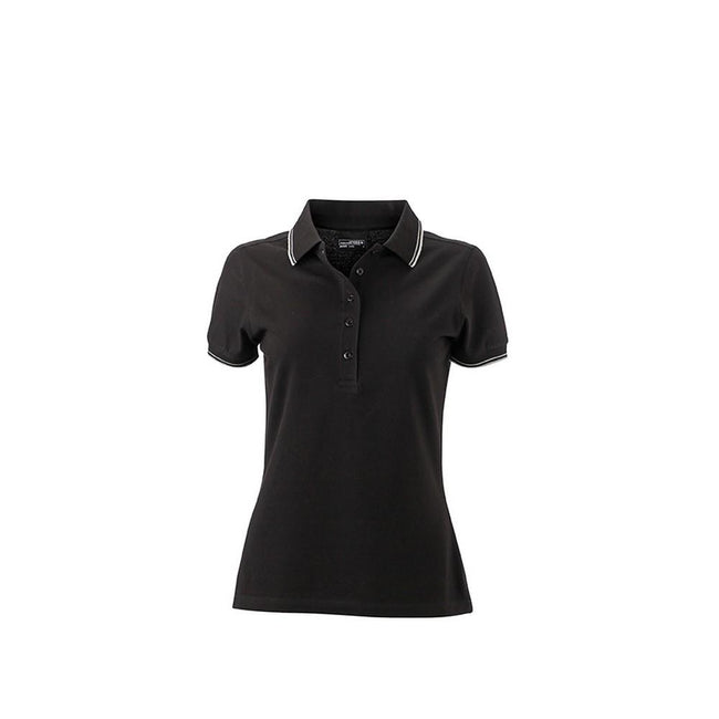 Black-White - Front - James and Nicholson Womens-Ladies Polo