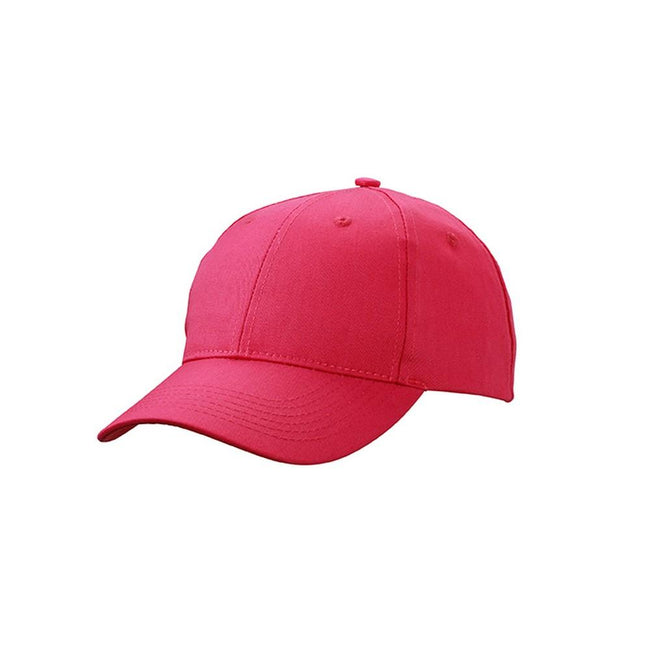 Pink - Front - Myrtle Beach Adults Unisex 6 Panel Workwear Cap
