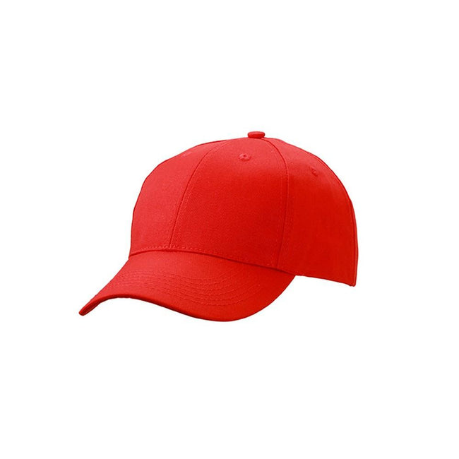 Red - Front - Myrtle Beach Adults Unisex 6 Panel Workwear Cap
