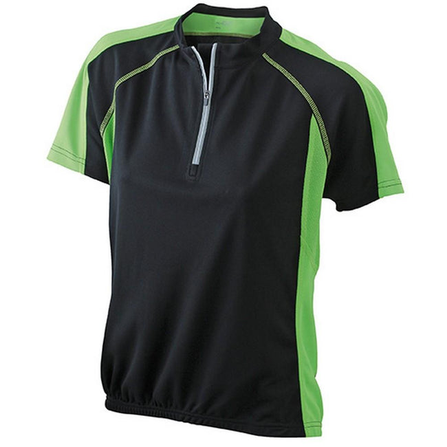 Black-Lime Green - Front - James and Nicholson Womens-Ladies Bike Top
