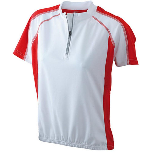 White-Red - Front - James and Nicholson Womens-Ladies Bike Top