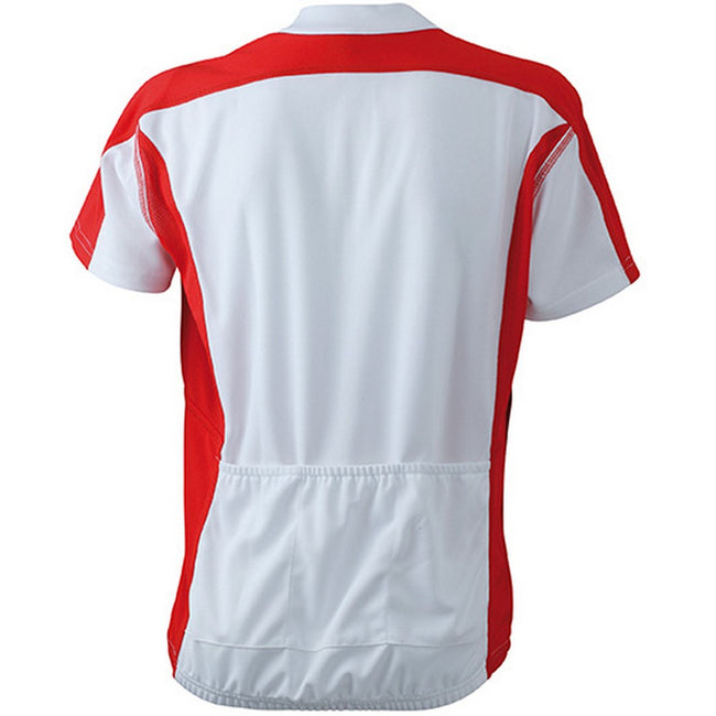 White-Red - Back - James and Nicholson Womens-Ladies Bike Top