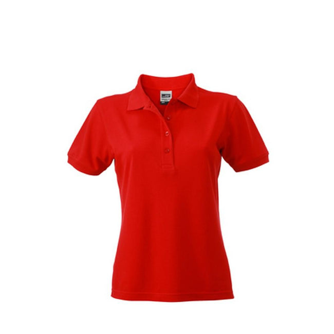 Red - Front - James and Nicholson Womens-Ladies Workwear Polo