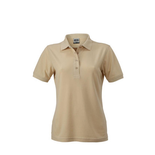 Stone - Front - James and Nicholson Womens-Ladies Workwear Polo