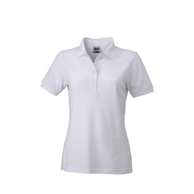 White - Front - James and Nicholson Womens-Ladies Workwear Polo