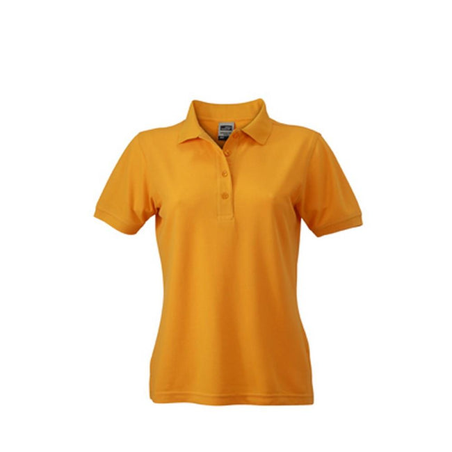 Gold Yellow - Front - James and Nicholson Womens-Ladies Workwear Polo