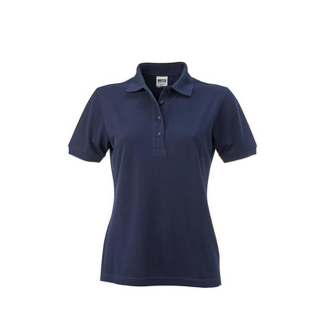 Navy - Front - James and Nicholson Womens-Ladies Workwear Polo