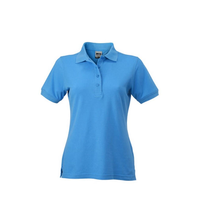 Aqua Blue - Front - James and Nicholson Womens-Ladies Workwear Polo